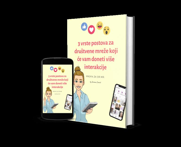 Mobilni telefon i knjiga sa naslovom 3 ideje za objave na društvenim mrežama