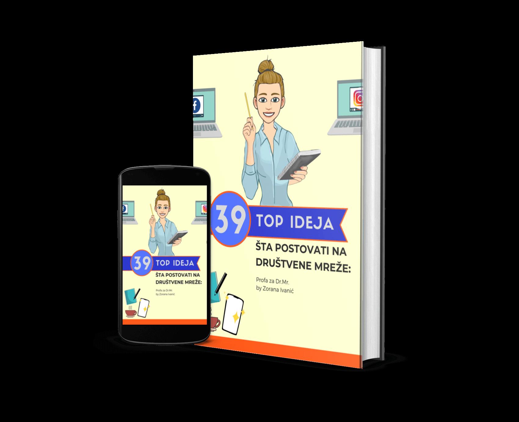 Mobilni telefon i knjiga sa naslovom: Šta postovati na društvene mreže? 39 TOP ideja