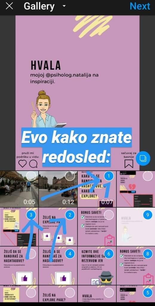 Screenshot koji pokazuje redosled slajdova za carousel post na Instagramu