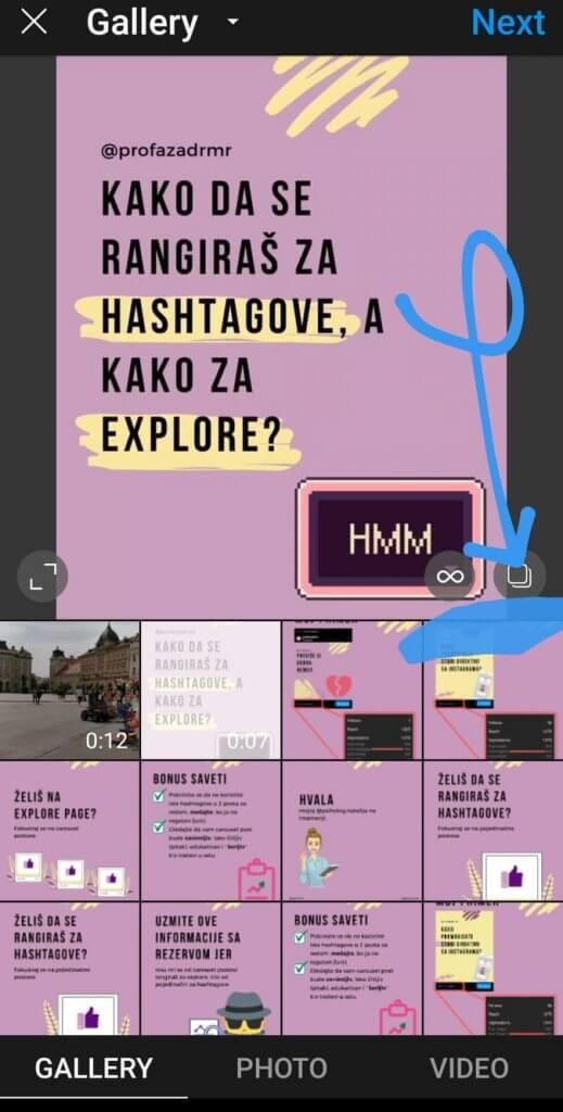 Screenshot koji pokazuje gde treba da se klikne kada se postuju carousel postovi