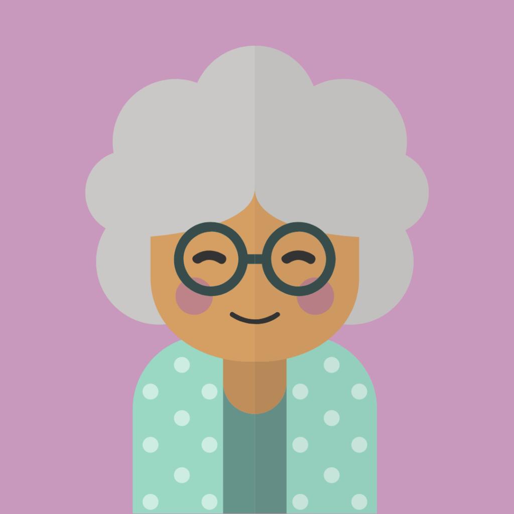 Slika bake, u sklopu bloga se odnosi na baka Maru u tekstu ''izgradnja zajednice na instagramu''. baka ima naočare i nasmejana je.