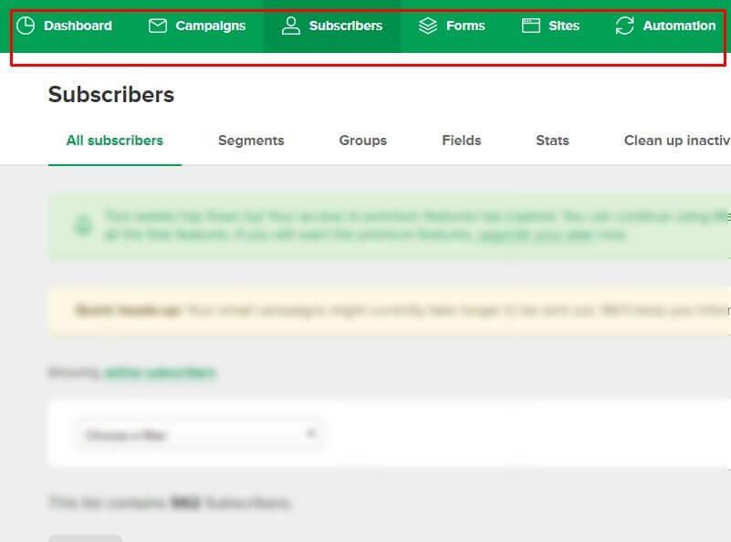 Primer mailerlite alata, prikaz svih opcija, od pravljenja formi do toga kako napraviti prodajnu stranicu