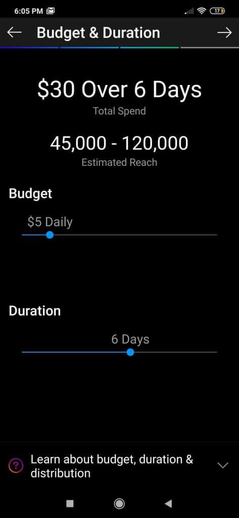 Screenshot koji pokazuje kako se određuje budžet i trajanje instagram oglasa