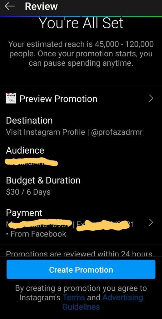 Screenshot koji pokazuje pregled samog oglasa na instagramu