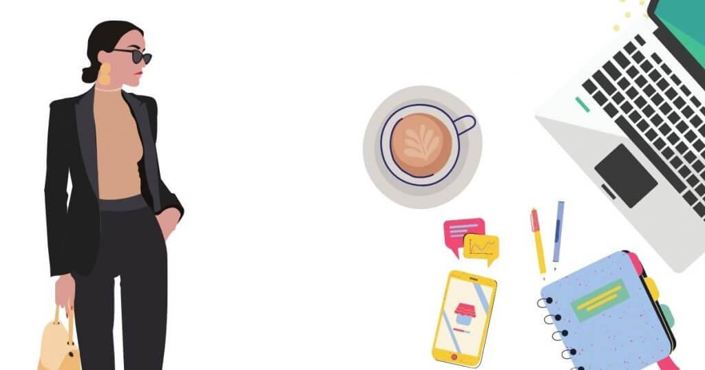 Žena preduzetnica, laptop, kafa